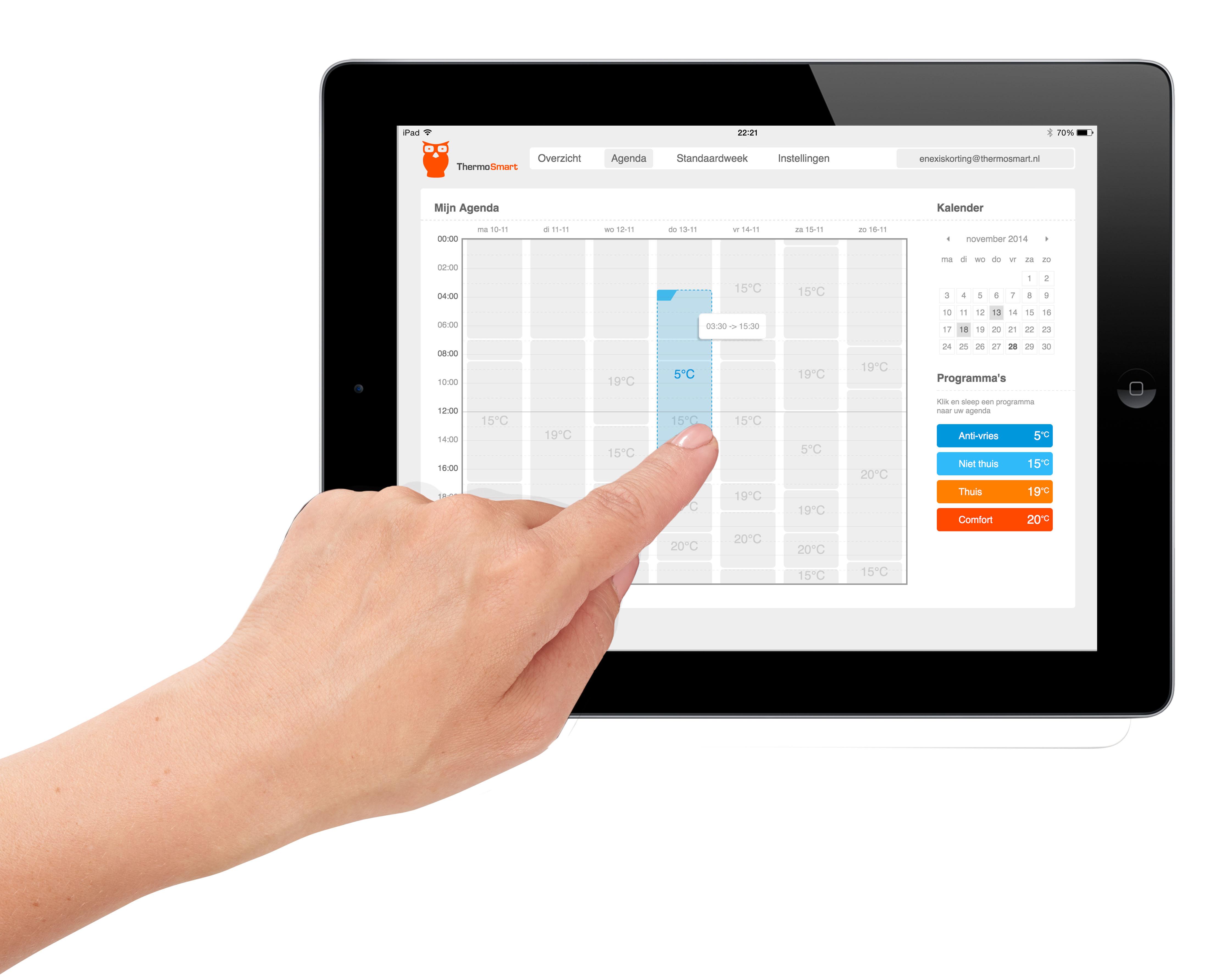 ThermoSmart iPad agenda instellen