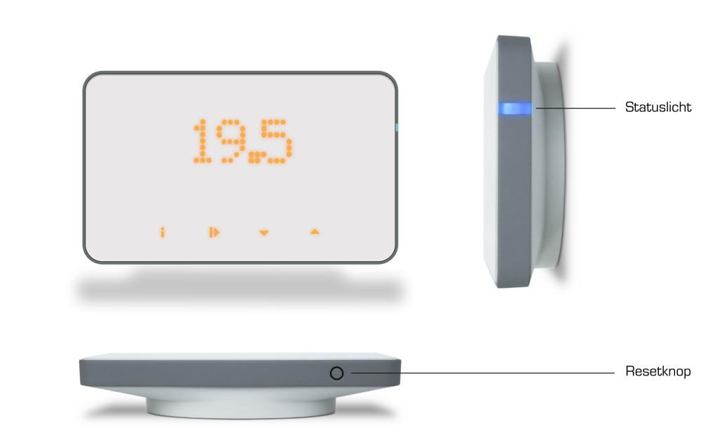ThermoSmart statusLED en resetknop